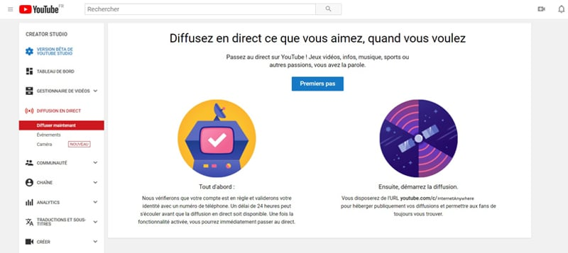 Direct Vidéo Youtube diffuser en direct sur YouTube via son ordinateur 1